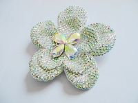 LARGE WHITE AB RHINESTONE FLOWER HAIR CL