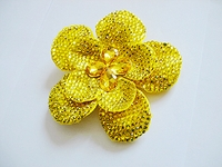 LARGE RHINESTONE YELLOW RHINESTONE FLOWER HAIR CLIP
