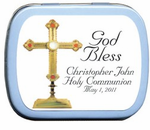 1st Communion Favors - Personalized Candy Tin with Gold Cross