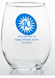 40 Birthday Party Favor Stemless Wine Glass