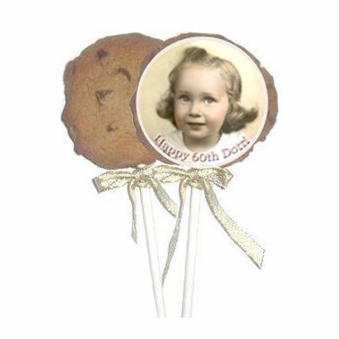 60th Birthday Party Favors Photo Cookies - 1 Dozen Cookie Pops