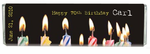 70th Birthday Party Candy Bars  - Candle Design