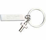 Baptism Cross Favors Engraved Key Chains