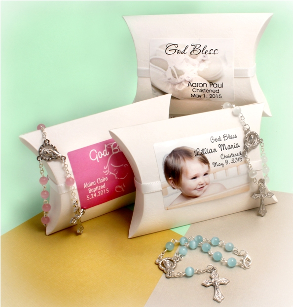 Christening Mini Rosary Favors Personalized Wrap