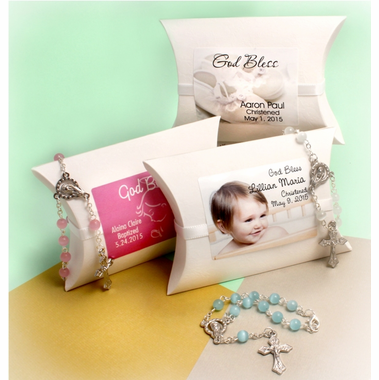 Christening Mini Rosary Favors - Personalized Wrap