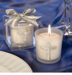 Christening Silver Cross Candle