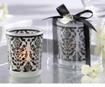 Damask Favors - Tea Lights with Holder - Set of 4