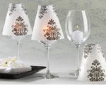 Damask Wedding Theme Favors Wine Glass Shades - Set of 24