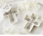 Favors for Baptism Cross Ceramic Trinket Holders