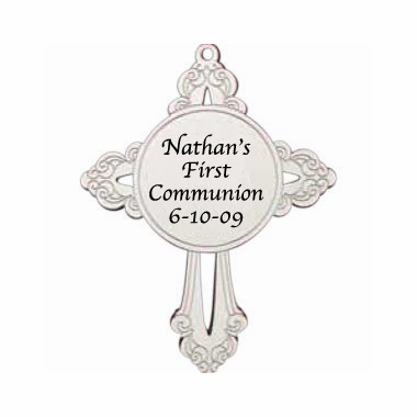 First Communion Ornaments Personalized Religious Cross