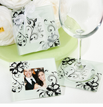 Glass Photo Coasters Black and White Flowers