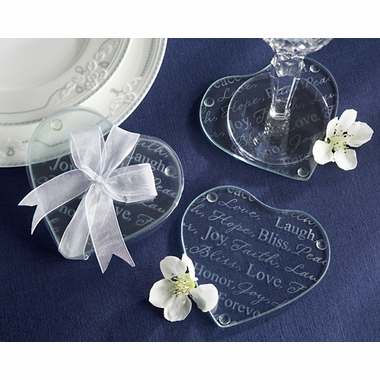 Inspirations Heart Glass Coasters