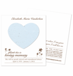 Memorial Favors Funeral Seeds Heart Card