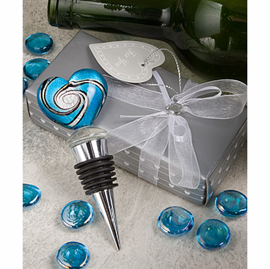 Murano Glass Heart Bottle Stopper