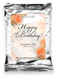 Personalized Coffee Favor - Happy Birthday Peach Roses