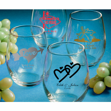 Personalized Wine Glass Favors - Stemless