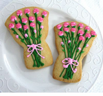 Pink and Green Bouquet Cookies Wedding Favors