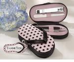 Pink Polka Flip Flop Five Piece Pedicure Set with Matching Thank You Tag
