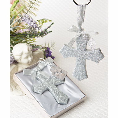 Silver Cross Ornaments Glitter