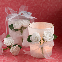 White Rose Favors Candle