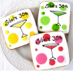 Yellow, Pink and Green Martini Cookie Favors