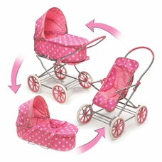 Bon Badger Basket 3 In 1 Pink Doll Stroller