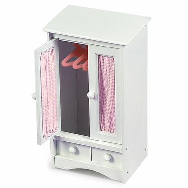 Badger Basket Doll Armoire w/Pink Gingham and 3 hangers