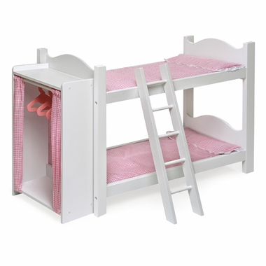 Badger Basket Doll Bunk Bed with Ladder and Storage Armoire
