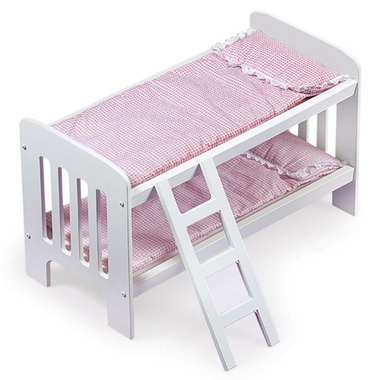 Badger Basket Doll Bunk Beds w/Ladder, Pink Gingham Bedding