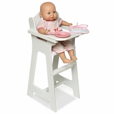Badger Basket White Doll High Chair, Pink Gingham, Plate/Bib/Spoon By Badger  Basket