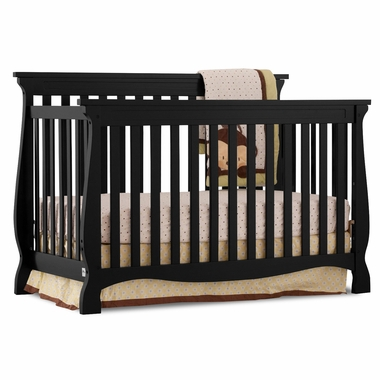 Storkcraft Carrara 4 in 1 Fixed Side Convertible Crib in Black - Click to enlarge
