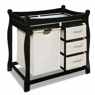 Black Sleigh Changing Table with Hamper and 3 Baskets by Badger Basket - Click to enlarge