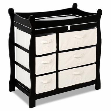 Black Sleigh Changing Table with Six Baskets by Badger Basket - Click to enlarge