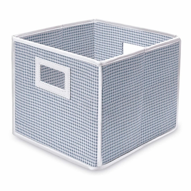 Blue Gingham Folding Nursery Basket/Storage Cube by Badger Basket - Click to enlarge