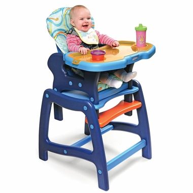 Blue & Orange Envee High Chair with Play Table by Badger Basket - Click to enlarge