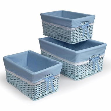 Blue Three Basket Set with Liners by Badger Basket - Click to enlarge