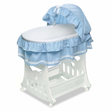 Blue Toybox Bassinet Waffle Pleated by Badger Basket - Click to enlarge
