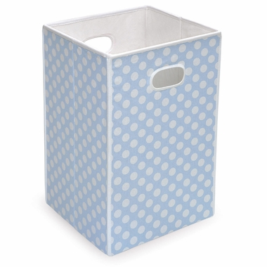 Blue with White Polka Dots Folding Hamper/Storage Bin by Badger Basket - Click to enlarge