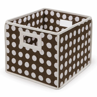 Brown Polka Dot Folding Nursery Basket/Storage Cube by Badger Basket - Click to enlarge