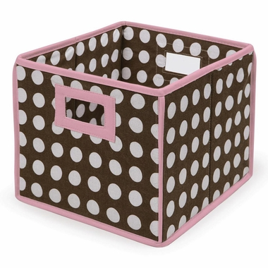 Brown Polka Dot/Pink Trim Folding Nursery Basket/Storage Cube by Badger Basket - Click to enlarge