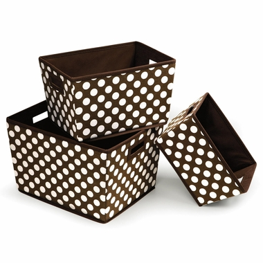 Brown Polka Dot Set of 3 Trapezoid Shape Nesting Baskets by Badger Basket - Click to enlarge