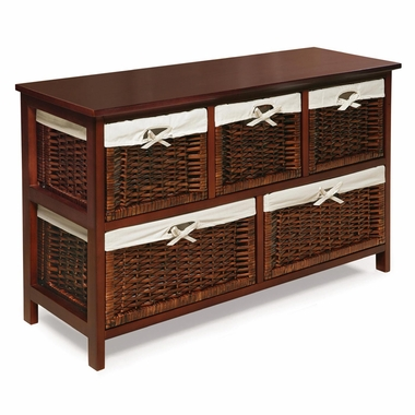 Cherry Five Basket Storage Unit with Wicker Baskets by Badger Basket - Click to enlarge