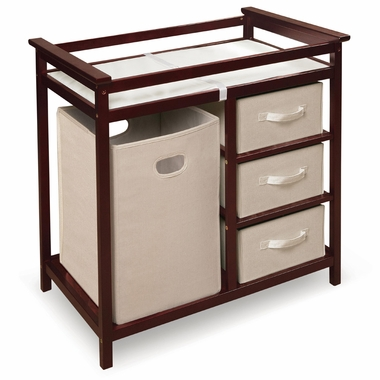 Cherry Modern Changing Table with 3 Baskets & Hamper by Badger Basket - Click to enlarge
