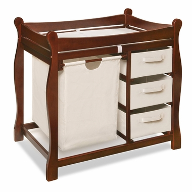 Cherry Sleigh Changing Table with Hamper and 3 Baskets by Badger Basket - Click to enlarge