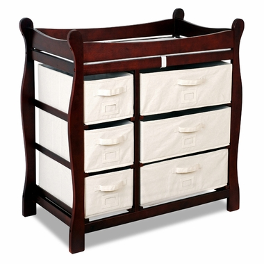 Cherry Sleigh Changing Table with Six Baskets by Badger Basket - Click to enlarge