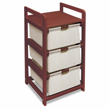 Cherry Three Drawer Hamper and Storage Unit by Badger Basket - Click to enlarge