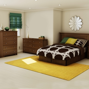 Cherry Vito 3 Piece Bedroom Set - Vito Full/Queen Headboard, 5 Drawer Chest and Double Dresser by South Shore