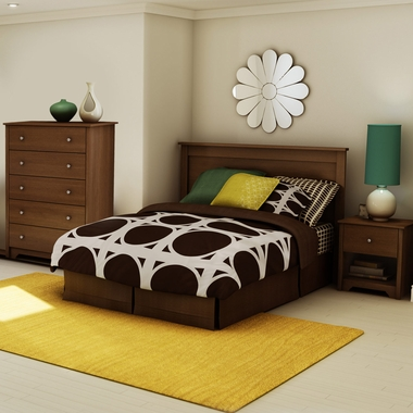 Cherry Vito 3 Piece Bedroom Set - Vito Full/Queen Headboard, 5 Drawer Chest and Nightstand by South Shore