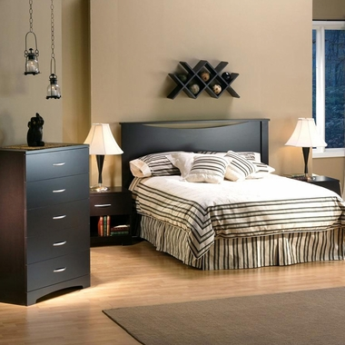 Chocolate Back Bay 3 Piece Bedroom Set - Back Bay Full Platform Bed with Storage, Step One 5 Drawer Chest and Nightstand by South Shore