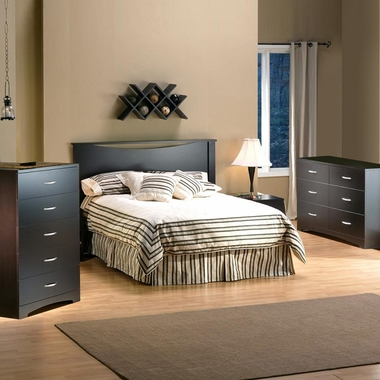 Chocolate Back Bay 3 Piece Bedroom Set - Back Bay Full Platform Bed with Storage, Step One Double Dresser and 5 Drawer Chest by South Shore